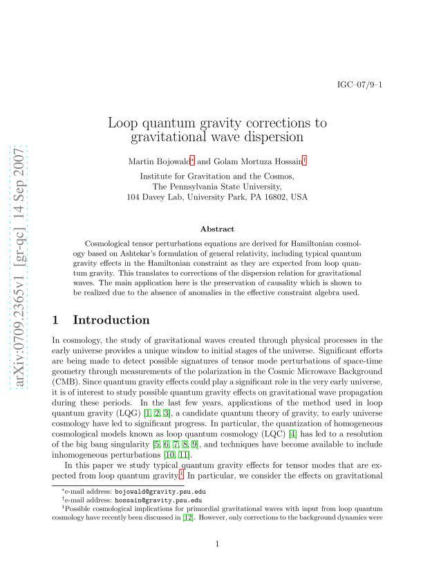 Martin Bojowald - Loop quantum gravity corrections to gravitational wave dispersion