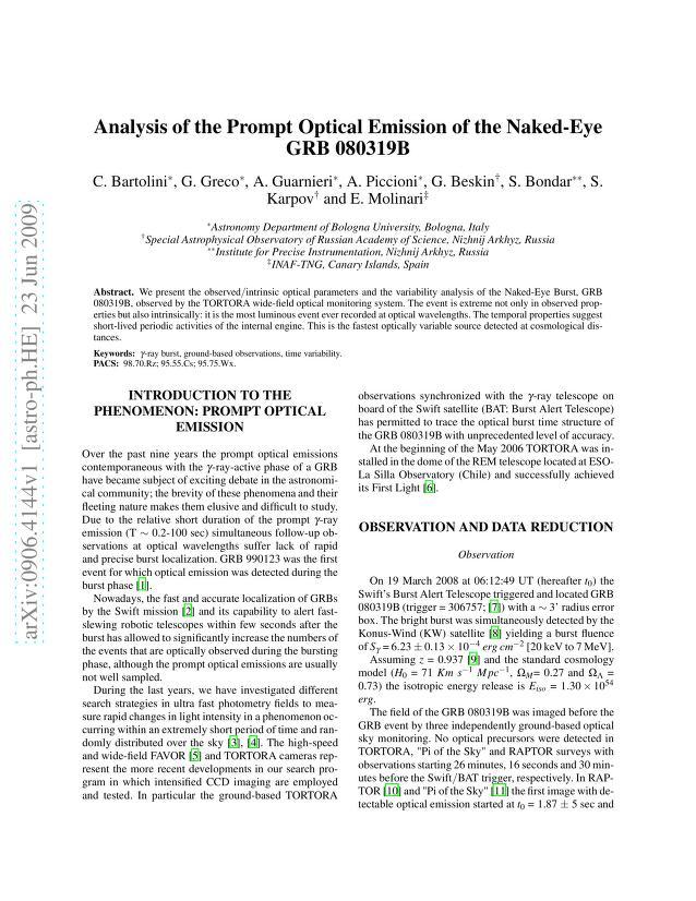 C. Bartolini - Analysis of the Prompt Optical Emission of the Naked-Eye GRB 080319B
