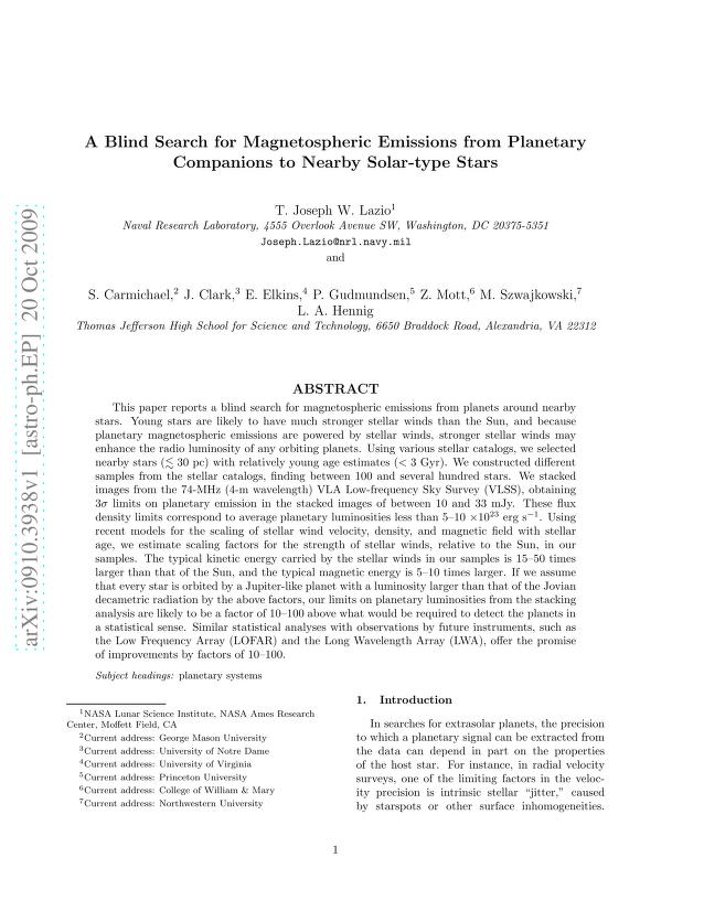 T. Joseph W. Lazio - A Blind Search for Magnetospheric Emissions from Planetary Companions to Nearby Solar-type Stars