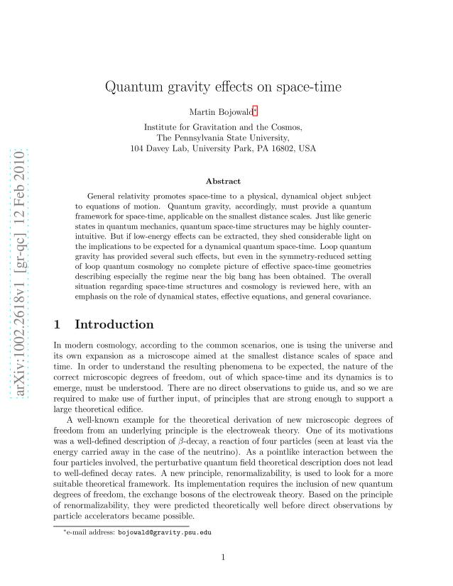 Martin Bojowald - Quantum gravity effects on space-time