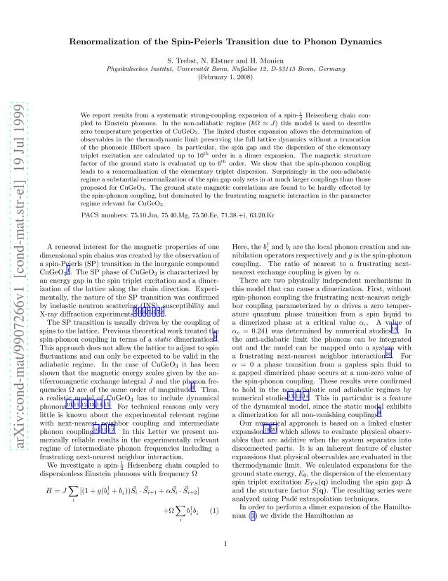 S. Trebst - Renormalization of the Spin-Peierls Transition due to Phonon Dynamics