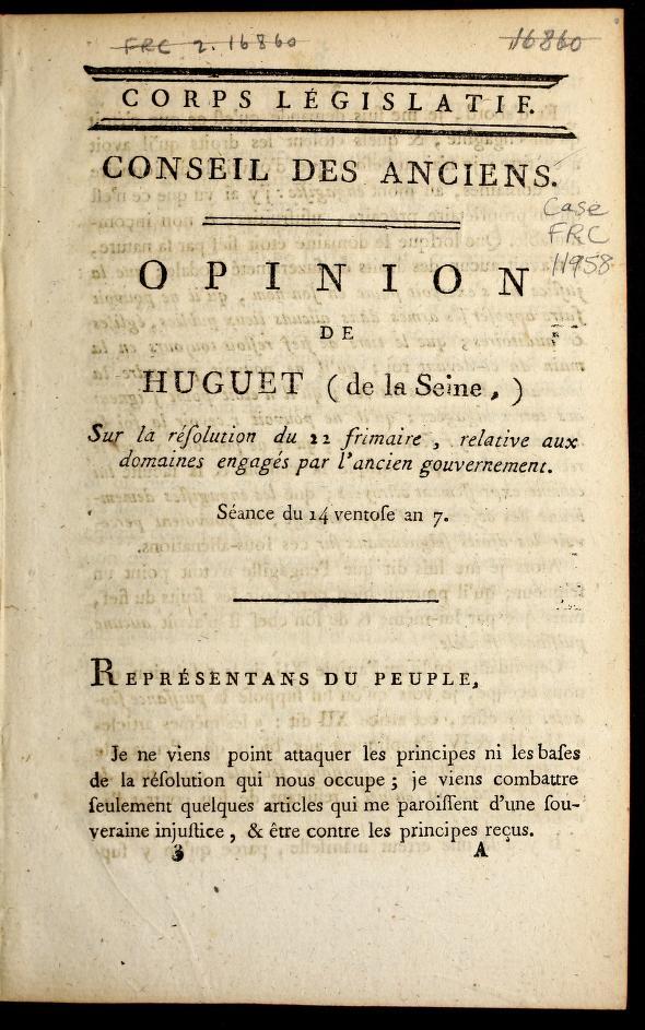 Opinion de Huguet (de la Seine) sur la re solution du 22 frimaire, relative aux domaines engage s par l'ancien gouvernement by The odore-Franc ʹois Huguet